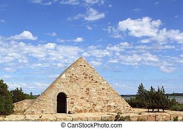 triangle stone masonry Ses Salines formentera Balearic...