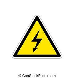 triangle, tension, signe jaune, élevé, clair, avertissement