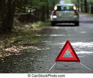 triangle, triangle, profondeur, attente, voiture, assistance, (shallow, il, foyer, bas, cassé, derrière, avertissement, champ, focus), gauche, arriver, dehors