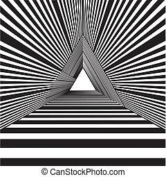 triangle, tunnel, fin, lumière