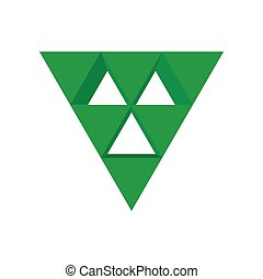 triangle vert, dessin animé, icône flèche