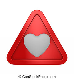 triangle with heart on white background. Isolated 3D illustration