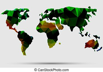 Triangle world map vector illustration. Stylize world map, technology colored concept