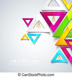 triangles., ベクトル, ビジネス, elements., 抽象的, ライン, イラスト, あなたの, presentation., デザイン, 幾何学的, 切抜き, 他
