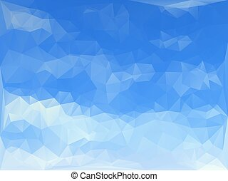 triangles abstract background - cloudy blue sky - vector