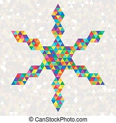 triangles., coloré, flocon de neige, clair, noël celébration