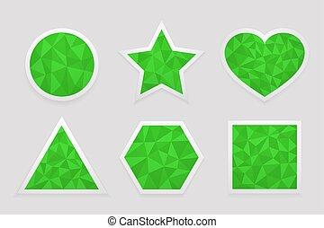 triangles., ensemble, étiquettes, forme, vert, géométrique