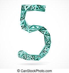 triangles., geometrisch, vijf, getal
