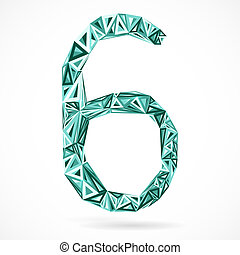 triangles., geometrisch, zes, getal