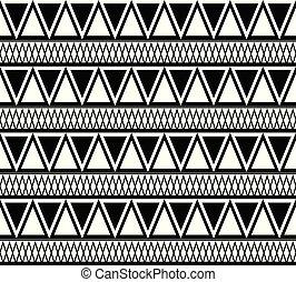 triangles., modèle, texture, boho, vecteur, noir, ethnique, blanc