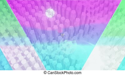Animation of colourful triangles over multiple rows of abstract shapes pulsating in hypnotic motion in seamless loop on white background. Colour abstract movement concept digitally generated image.