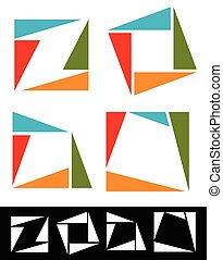 triangles., résumé, coloré, icônes, placer place, logotypes, vector., fait