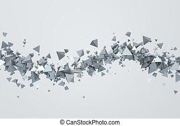triangles., résumé, voler, 3d, rendre