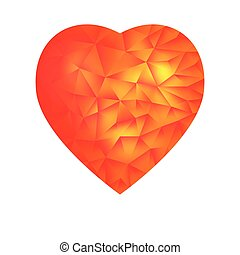 triangles red heart, isolated on white background