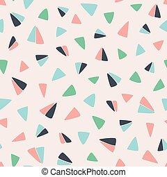 triangles., semelhante, padrão, voando, seamless, superfície, mão, avião papel, desenhado, geomã©´ricas, design.