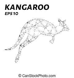 triangles., silhouette, polygone, formulaire, kangourou, lignes, sombre, arrière-plan., forme, vecteur, points, consiste, illustration.