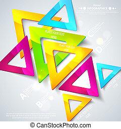 triangles., vektor, firma, elements., abstrakt, linjer, illustration, din, presentation., konstruktion, geometriske, cutout, anden