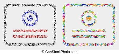 triangoli, vettore, mosaico, certificato, icona