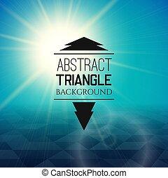 triangolo blu, modello, astratto, soleggiato, nebbia, campo tramonto, perspetive