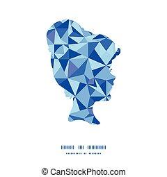 triangolo blu, modello, cornice, struttura, vettore, ritratto, ragazza, silhouette