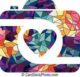 triangolo, colorito, astratto, geometrico, logotipo, fotografia