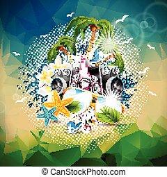 triangolo, estate, altoparlanti, occhiali da sole, astratto, illustrazione, fondo., tema, vettore, musica, festa, vacanza