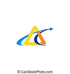 triangolo, finanza, simbolo, moderno, illustrazione, vettore, disegno, freccia, logotipo, icona