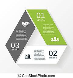 triangolo, frecce, diagramma, 3, infographic, opzioni