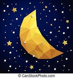 triangolo, luna, neve, vettore, stelle, nuovo