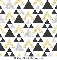 triangolo, oro, modello, astratto, seamless, scuro, fondo., gray., geometrico, triangoli