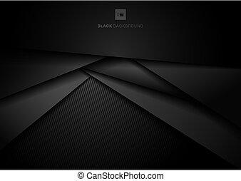 triangolo, ricoprendo, scuro, geometrico, testo, astratto, dimensione, 3d, fondo, spazio, carta, strato, tuo, stile, nero