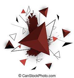triangolo rosso, astratto, bianco, fondo