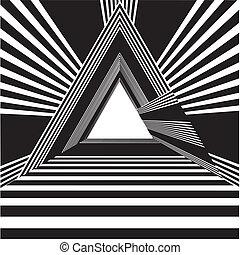 triangolo, tunnel, fine, luce