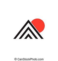 triangolo, zebrato, montagna, sole, vettore, semplice, logotipo