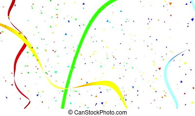 triangulaire, confetti, fête, rubans, arrière-plan., carnaval, voler, tomber, serpanrin