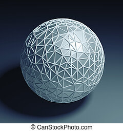 triangular 3D sphere isolated with clipping path