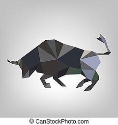 Triangular bull - vector illustration.
