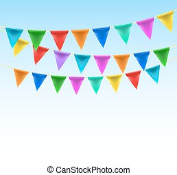 triangular bunting on rope background on blue sky. vector
