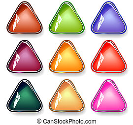 Set of editable vector triangular glossy buttons