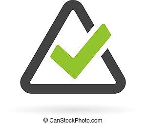 Triangular checkbox icon isolated on white background