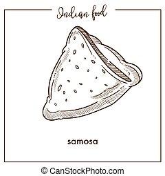 triangular, comida., tradicional, indio, delicioso, crujiente, samosa
