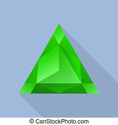 Triangular emerald icon, flat style