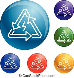 Triangular energy arrow icons set vector