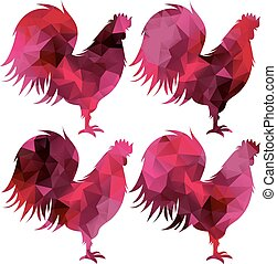 triangular geometric polygonal rooster, isolated illustration of cock on white background