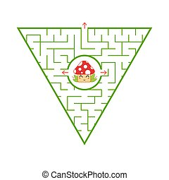 Triangular green labyrinth. Find the right way out of the maze. Simple flat vector illustration isolated on white background. With a cartoon cute character.