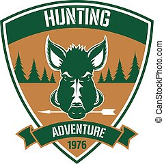 Triangular heraldic badge for hunting club design