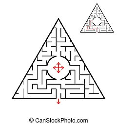 Triangular labyrinth. Find the right way out of the maze. Simple flat vector illustration isolated on white background. With the answer.