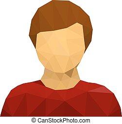 triangular, macho, usuario, avatar, icono