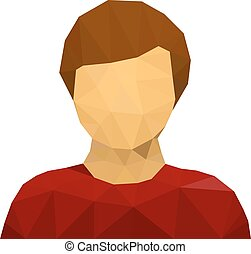triangular male user avatar icon - illustration for the web