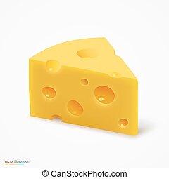 Triangular piece of cheese. Vector illustration art